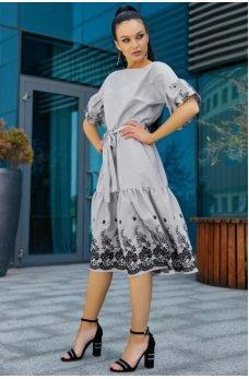 Нарядное городское платье бело-черного цвета