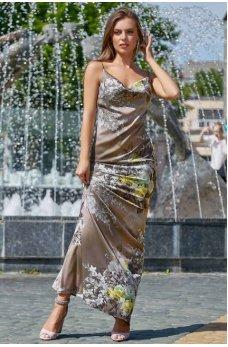 Изысканное платье кофейного цвета с цветочным принтом