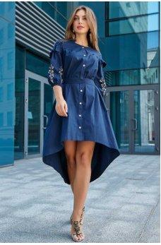 Необыкновенное платье темно-синего цвета