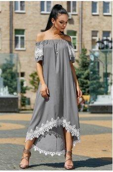 Необыкновенно элегантное и модное серое платье