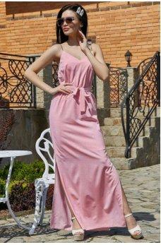 Изысканное платье нежно розового цвета в бельевом стиле