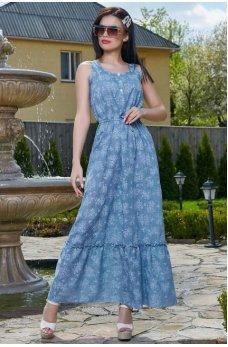 Женственное платье голубого цвета с цветочным принтом