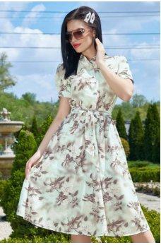 Изящное платье мятного цвета с цветочным принтом