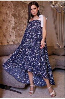 Гламурное женское платье темно-синего цвета