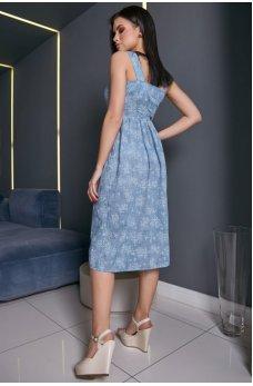 Легкое платье-сарафан голубого цвета с цветочным принтом