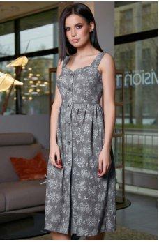 Легкое платье-сарафан серого цвета с цветочным принтом