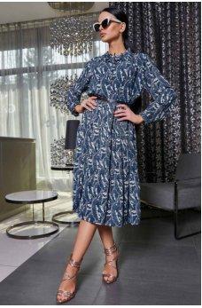 Модное цветочное платье из креп-шифона в синем цвете