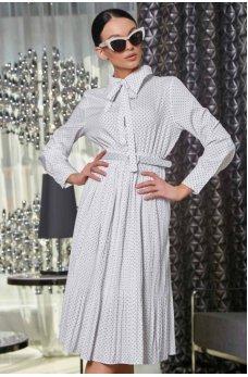 Стильное белое платье в горошек