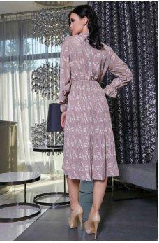 Модное шифоновое платье в цветочный принт с юбкой плиссе