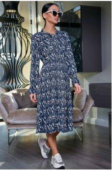 Модное синее шифоновое платье в цветочный принт с юбкой плиссе