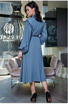 Женственное синее платье с воротником аскот