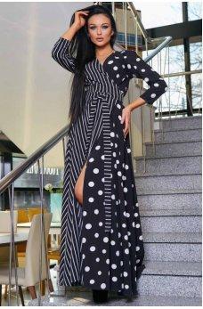Роскошное вечернее платье черного цвета с принтом крупного гороха и полоски