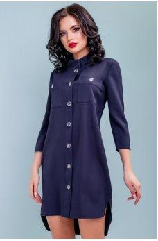Молодежное стильное платье темно-синего цвета