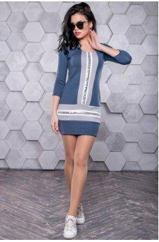 Модное платье синего оттенка