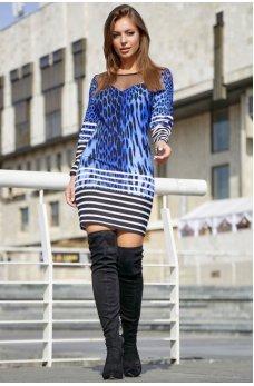 Элегантное платье карандаш синего цвета с принтом