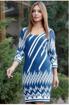 Оригинальное платье в сине-белом цвете