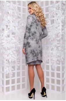 Светло-серое платье с эфектом накидки с цветочным принтом
