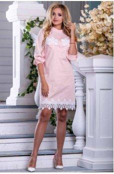 Стильное легкое платье персикового цвета