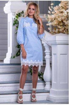 Стильное легкое платье голубого цвета