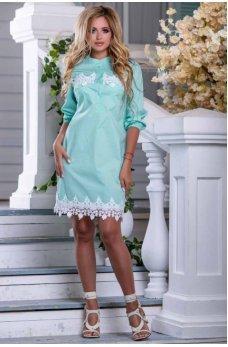 Стильное легкое платье мятного цвета
