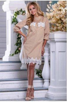 Стильное легкое платье цвета светлого кофе