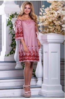 Летнее молодежное платье в бело-красную полоску