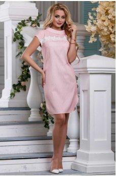 Стильное платье-рубашка розового цвета