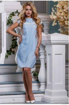 Стильное платье-рубашка голубого цвета