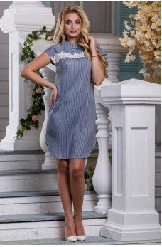 Стильное платье-рубашка синего цвета