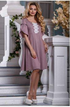 Элегантное летнее платье розово-коричневого цвета