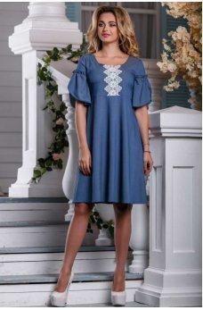 Элегантное летнее платье синего цвета