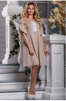 Элегантное летнее платье цвета светлого кофе
