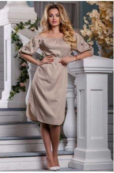 Изысканное платье цвета светлого кофе с вышивкой