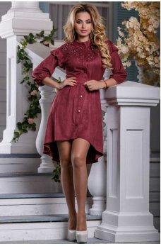 Весеннее замшевое платье с ассиметричным подолом марсала
