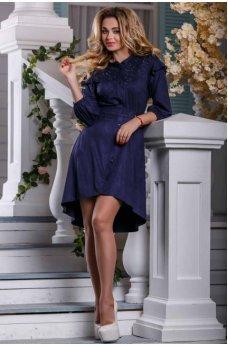 Весеннее темно-синее замшевое платье с ассиметричным подолом