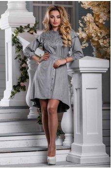 Весеннее серое замшевое платье с ассиметричным подолом