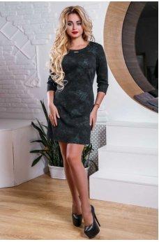 Красивое черное платье с интересным цветочным узором