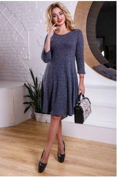 Темно-синее платье со свободной юбкой из вязаного трикотажа