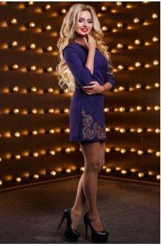 Эксклюзивное короткое платье синего цвета