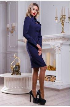 Привлекательное темно-синее платье с изысканным воротником