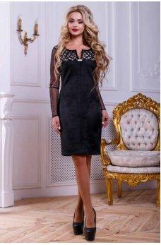 Черное замшевое нарядное платье