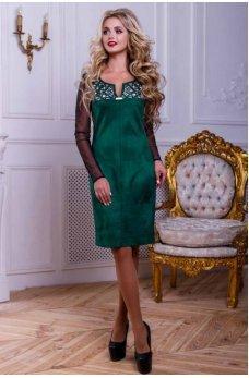 Зеленое оригинальное платье с гипюром