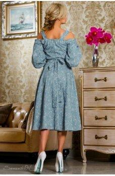 Элегантное молодежное платье голубого цвета с принтом