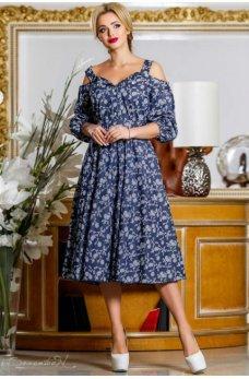 Элегантное молодежное платье темно-синего цвета с принтом