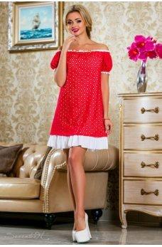 Летнее легкое платье ярко-красного цвета