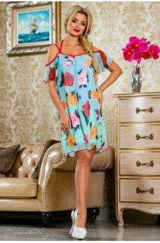Воздушное летнее платье бирюзового цвета с цветочным принтом