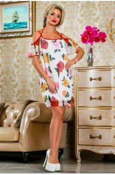Воздушное летнее платье белого цвета с цветочным принтом