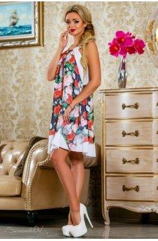 Элегантное летнее платье черно-белого цвета с цветочным принтом