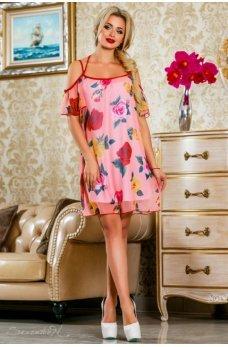 Воздушное летнее платье розового цвета с цветочным принтом