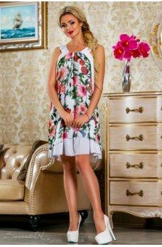 Элегантное летнее платье белого цвета с цветочным принтом